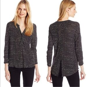 Lucky Brand Henley Etched Geo Top Rayon 3/4 Sleeve